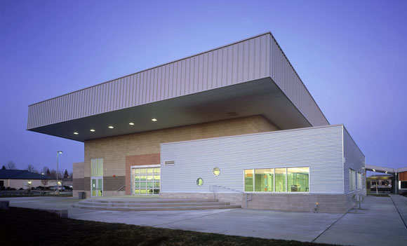Multipurpose building, gym and cafeteria (photo by Gregory Blore)