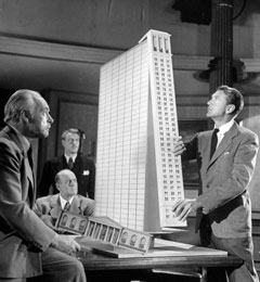 Gary Cooper as Howard Roark with his clients, The Fountainhead, 1949