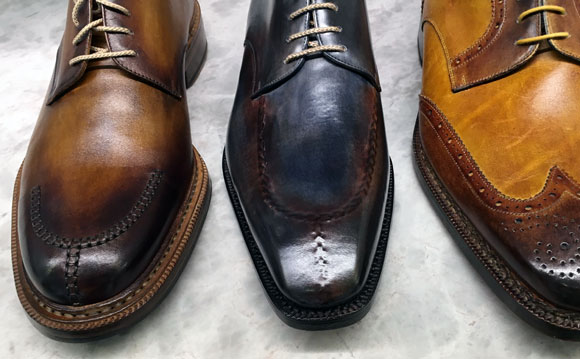 For $1,200 at Barneys New York, you can get a brand new pair of shoes that are already distressed and patina'd (photo by Anthony Poon)