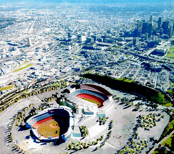 Proposed NFL Stadium adjacent to Dodger Stadium, Los Angeles, California, by Greg Lombardi and Anthony Poon (w/ NBBJ, photo by NBBJ))