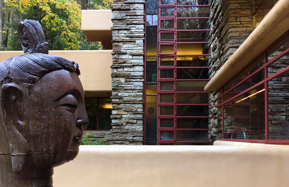 Fallingwater composition: horizontal cantilevered terraces, vertical stone walls, and signature Cherokee red windows (photo by Anthony Poon)