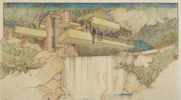 Fallingwater drawing, by Frank Lloyd Wright, 1935