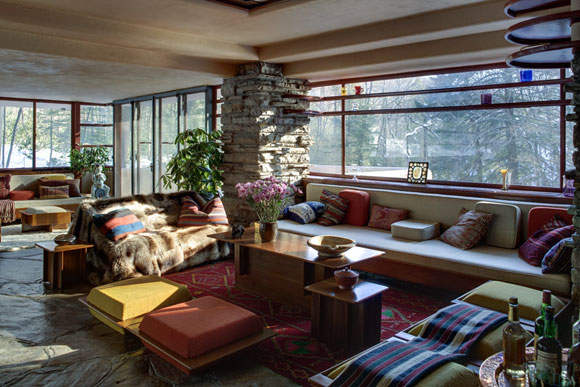 Fallingwater living room in winter (photo from fallimgwater.org)