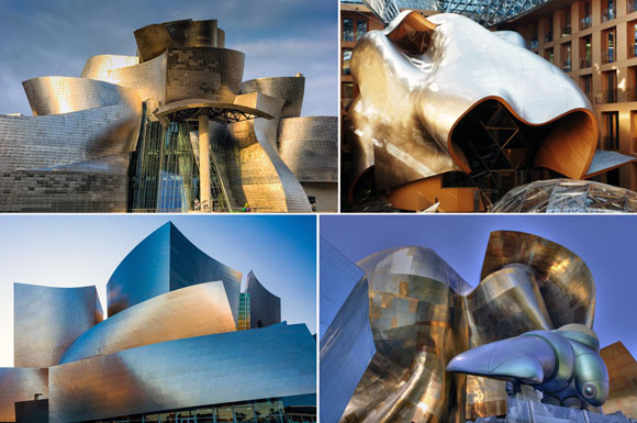 Projects by Gehry Partners upper left: Guggenheim Museum, Bilbao, Spain (photo by John Finn); upper right: DZ Bank, Berlin, Germany (photo from cnn.com); lower left: Walt Disney Concert Hall, Los Angeles, California (photo from inspiringhomeideas.net); lower right: Experience Music Project Museum, Seattle, Washington (photo from pinterest.com)