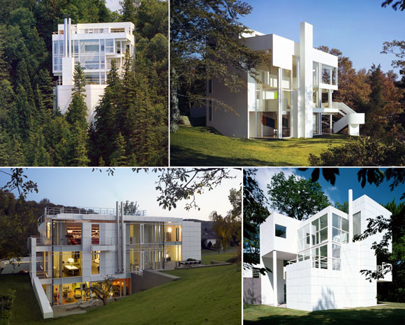 Projects by Richard Meier and Partners Architects upper left: Douglas House, Harbor Springs, Michigan (photo by Mark Jongman-Sereno); upper right: Smith House, Darien, Connecticut (photo from richardmeier.com); lower left: Luxembourg Residence, Luxembourg (photo from richardmeier.com); lower right: Giovannitti House, Pittsburgh, Pennsylvania (photo from richardmeier.com)