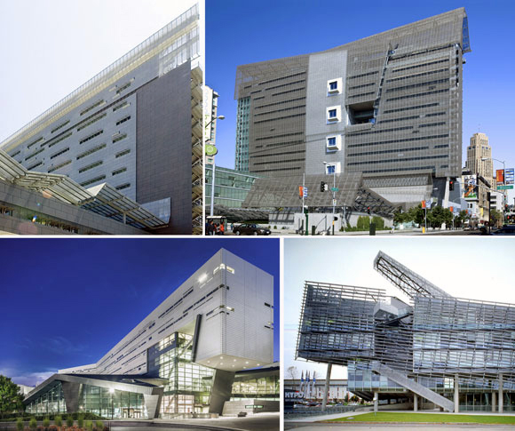 Projects by Morphosis upper left: Caltrans District 7 Headquarters, Los Angeles, California (photo by Liao Yusheng); upper right: San Francisco Federal Building, San Francisco, California (photo from sf.curbed.com); lower left: Student Recreation Center, University of Cincinnati, Ohio (photo by Mark Tepe); lower right: Hypo Alpe-Adria Center, Klagenfurt, Austria (photo by Christian Richters)