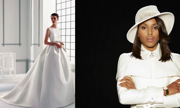 left: Wedding gown by Rosa Clara (photo from shop.nordstrom.com); right: Kerry Washington as Oliva Pope in Scandal, 2012 to present (photo by Craig Sjodin/ABC via Getty Images)