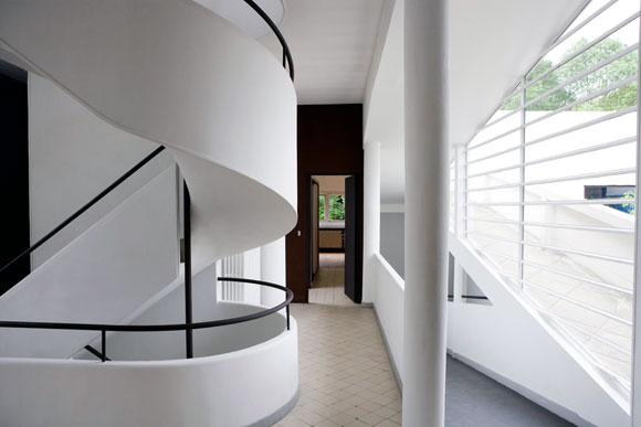 Interior of Villa Savoye, Poissy, France, by Le Corbusier (photo from commons.mtholyoke.edu)